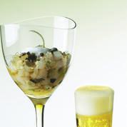 Tartare de saint-pierre et huître en gelée de bière de printemps
