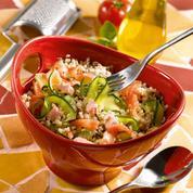 Quinoa gourmand aux deux saumons et aux tagliatelles de courgettes