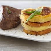 Gratin de quenelles nature et patate douce, pavé de bœuf à la sauge