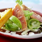 Filet de rouget rôti, panisses au citron confit