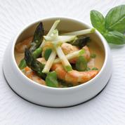 Grosses crevettes dans un curry, lait de coco à la Fine de Calvados