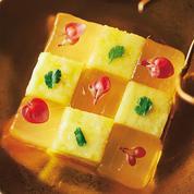 Damier d'aloe vera et ananas à la coriandre
