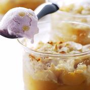 Crumble d'abricots, glace lavande