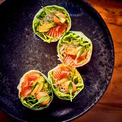 Rouleaux de printemps, saumon et radis daïkon