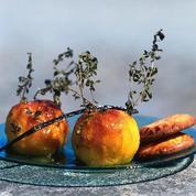 Pêches confites au thym et au citron