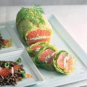 Rouleaux de saumon au chou