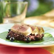 Thon snacké et risotto aux myrtilles