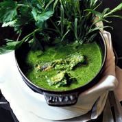 Velouté d'anguilles aux légumes verts
