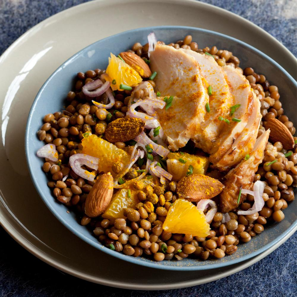 recette salade de lentilles et poulet au curcuma cuisine. Black Bedroom Furniture Sets. Home Design Ideas