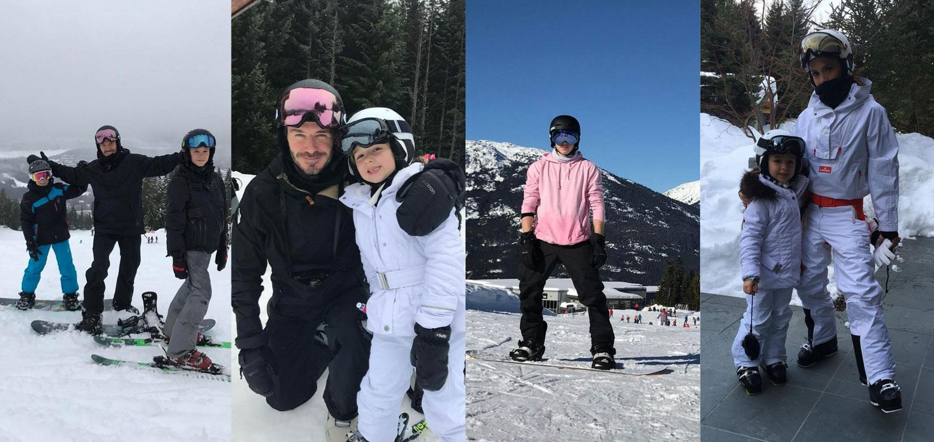 Les Beckham au ski   photos de famille et accident de snowboard ... aae5ff96b72