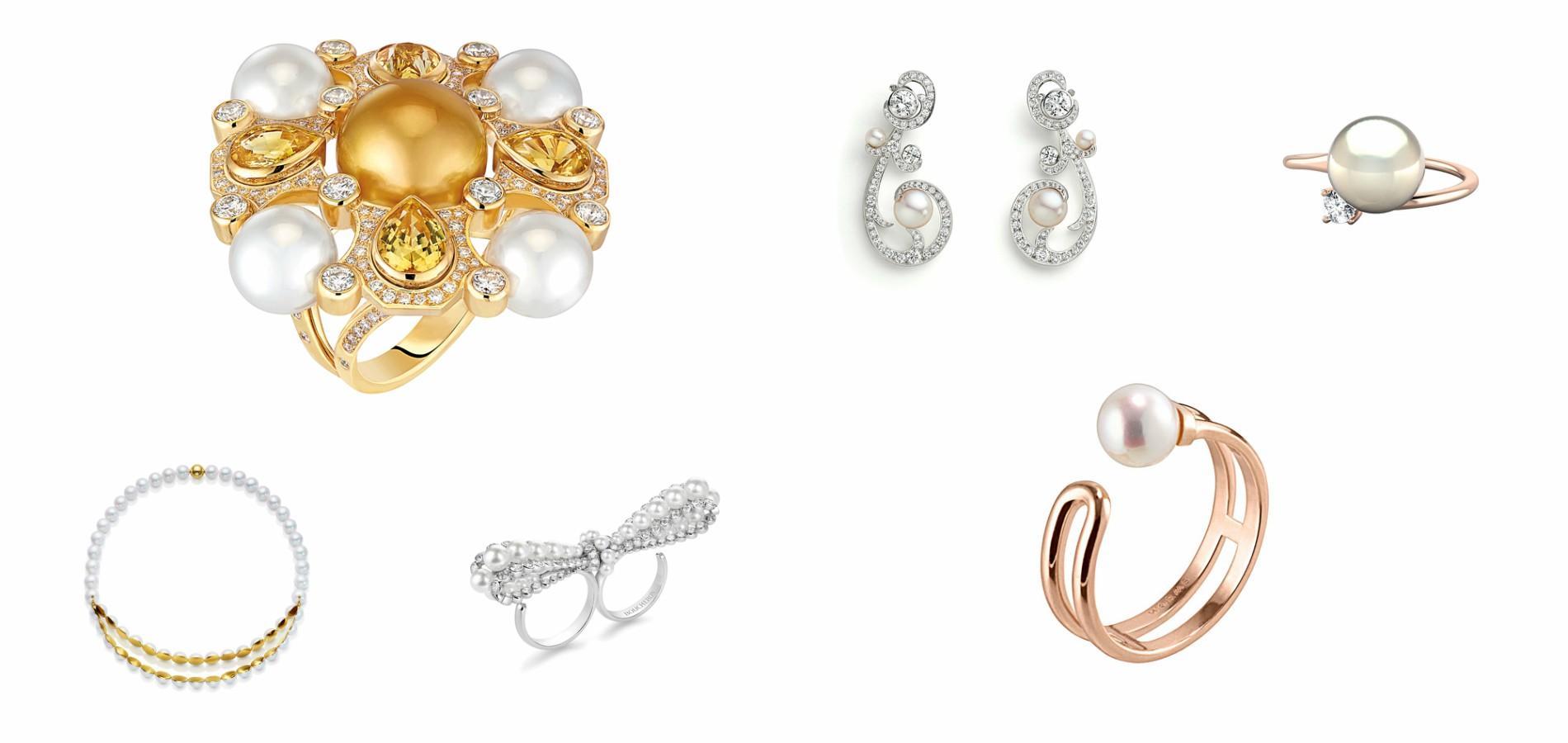 De g. à droite   Bague San Marcoen or jaune carats serti de 140 diamants,  taille brillant Chanel Joaillerie. Boucle d oreille Valses d Hiver, Chaumet. a5becfdda941