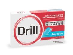 Drill sans sucre, pastille édulcorée à l'aspartam et à l'isomalt, boîte de 24