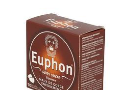 Euphon sans sucre, pastille édulcorée à la saccharine, boîte de 70