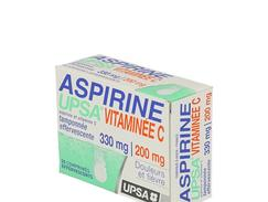 Aspirine upsa vitaminee c tamponnee effervescente, comprimé effervescent, boîte de 2 tubes de 10