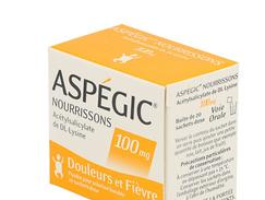 Aspegic nourrissons 100 mg, poudre pour solution buvable en sachet-dose, boîte de 20 sachets-dose