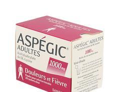 Aspegic adulte 1 000 mg poudre pour solution buvable boîte de 20 sachets-dose