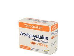 Acetylcysteine eg 200 mg, poudre pour solution buvable en sachet-dose, boîte de 20 sachets-dose