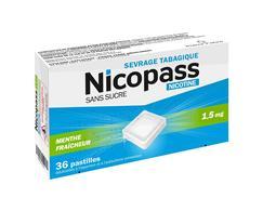 Nicopass 1,5 mg sans sucre menthe fraicheur, pastille édulcorée à l'aspartam et à l'acésulfame potassique, boîte de 36