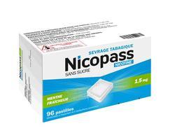 Nicopass 1,5 mg sans sucre menthe fraicheur, pastille édulcorée à l'aspartam et à l'acésulfame potassique, boîte de 96