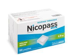 Nicopass 1,5 mg sans sucre reglisse menthe, pastille édulcorée à l'aspartam et à l'acésulfame potassique, boîte de 96