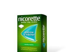 Nicorette menthe fraiche 4 mg sans sucre, gomme à mâcher médicamenteuse édulcorée au xylitol et à l'acésulfame potassique, boîte de 30