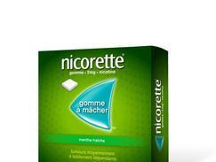 Nicorette menthe fraiche 2 mg sans sucre, gomme à mâcher médicamenteuse édulcorée au xylitol et à l'acésulfame potassique, boîte de 210