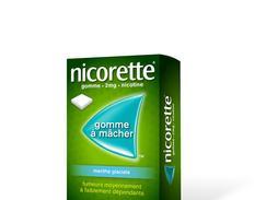 Nicorette menthe glaciale 2 mg sans sucre, gomme à mâcher médicamenteuse édulcorée au xylitol et à l'acésulfame potassique, boîte de 30
