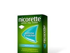 Nicorette menthe glaciale 2 mg sans sucre, gomme à mâcher médicamenteuse édulcorée au xylitol et à l'acésulfame potassique, boîte de 105