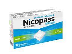 Nicopass 1,5 mg sans sucre eucalyptus, pastille édulcorée à l'aspartam et à l'acésulfame potassique, boîte de 36