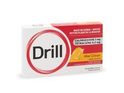 Drill miel citron sans sucre, pastille édulcorée à l'isomalt et à l'acésulfame potassique, boîte de 24