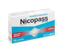 Nicopass reglisse menthe 2,5 mg sans sucre, pastille édulcorée à l'aspartam et à l'acésulfame potassique, boîte de 96