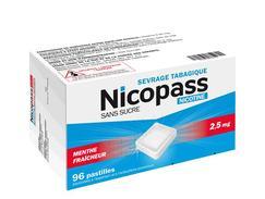 Nicopass menthe fraicheur 2,5 mg sans sucre, pastille édulcorée à l'aspartam et à l'acésulfame potassique, boîte de 96