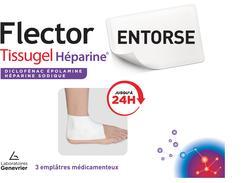 Flector tissugel heparine 1 g/40 000 ui pour 100 g, emplâtre médicamenteux, boîte de 3 sachets de 1