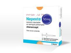 Nepexto 50 mg, solution injectable en seringue préremplie, boîte de 4 seringues préremplies (+ tampons alcoolisés) de 1 ml