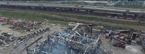 Tianjin : de nouvelles images de la zone sinistrée filmées par Greenpeace
