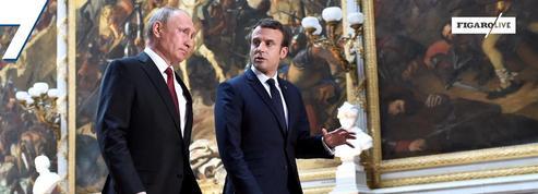 29 mai 2017: Emmanuel Macron reçoit Vladimir Poutine à Versailles.
