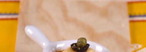 Bouchées de tortilla sur coulis de gaspacho