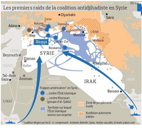 premières frappes en syrie