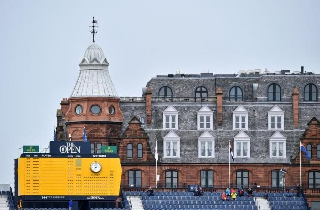 Le leaderboard principal de St Andrews, placé dans le prolongement du trou n°18. Là où tout va se jouer ! (AFP)