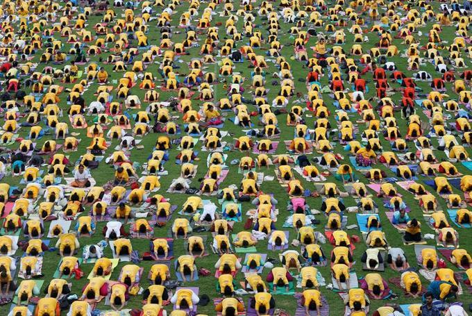 Journée internationale du Yoga à Bengaluru, en Inde