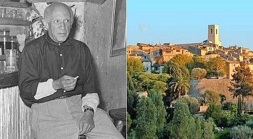 Pablo Picasso assis à la Colombe d'Or (à gauche), le fameux restaurant de Saint-Paul (à droite) où il aimait dîner (Crédits : Jacques Gomot et Roland Michaud)