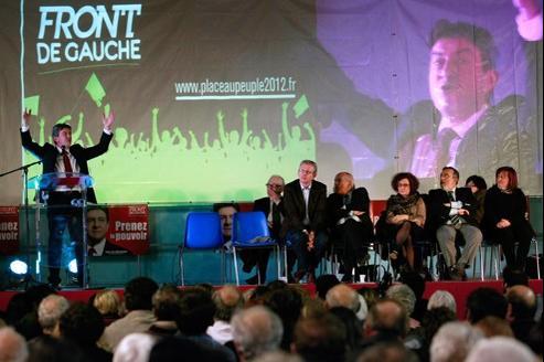 Jean-Luc Mélenchon, lors d'un meeting à Bastia, le 22 février.