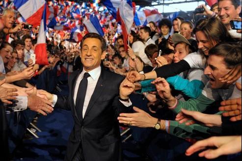 Nicolas Sarkozy, en meeting à Villepinte, dimanche.