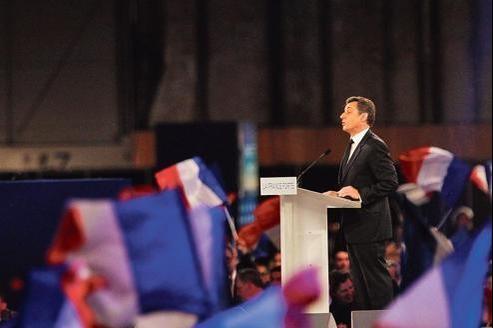 Pendant le discours de Nicolas Sarkozy, dimanche, à Villepinte.
