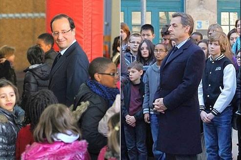 François Hollande et Nicolas Sarkozy se sont rendus mardi dans deux écoles pour la minute de silence décrétée par le président.