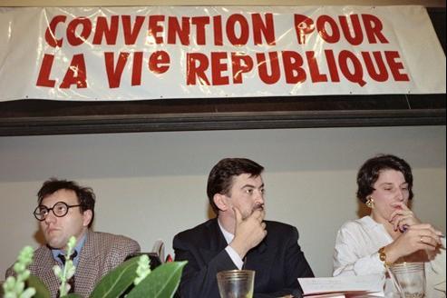 Julien Dray, Jean-Luc Mélenchon et Marie-Noëlle Lienemann, les cadres de la Gauche socialiste en 1992.