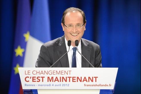 François Hollande lors d'un meeting à Rennes, le 4 avril.