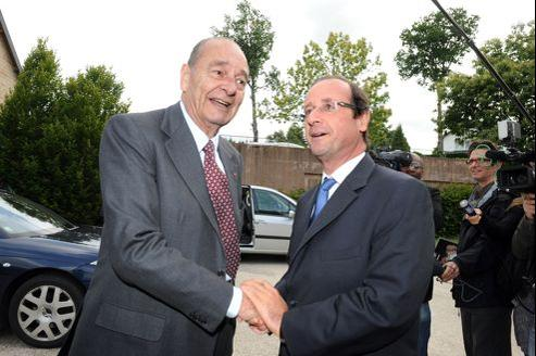 Jacques Chirac et François Hollande le 11 juin dernier à Sarran, en Corrèze.