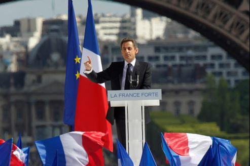 Nicolas Sarkozy, mardi, sur l'esplanade du Trocadéro, à Paris.