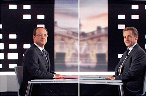 François Hollande et Nicolas Sarkozy avant leur débat mercredi soir.